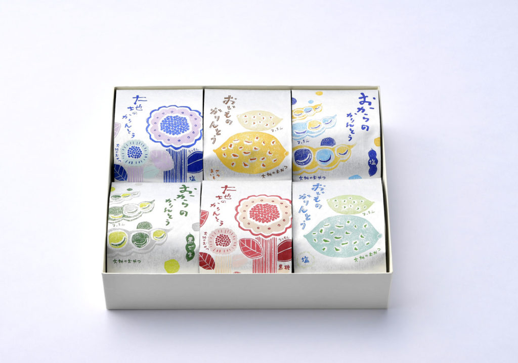 「大地のおやつ」パッケージイラスト&デザイン/山本佐太郎商店